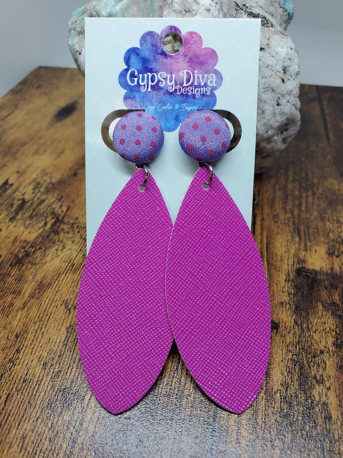Dark Fuchsia Lg Leaf Cut Faux Leather on Purple & Pink Polka Dotted Post