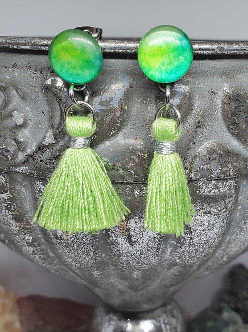 Green Watercolor Cabochon Post & Small Lime Green Tassel