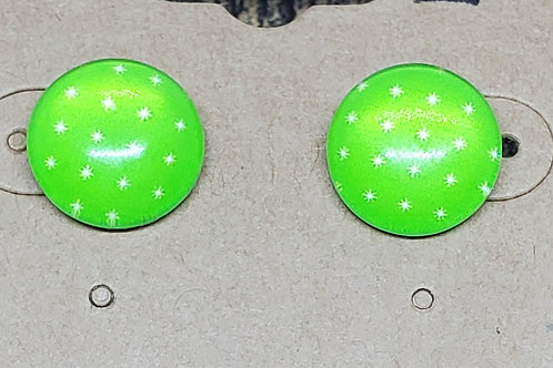 Lime Green with Small White Stars Posts