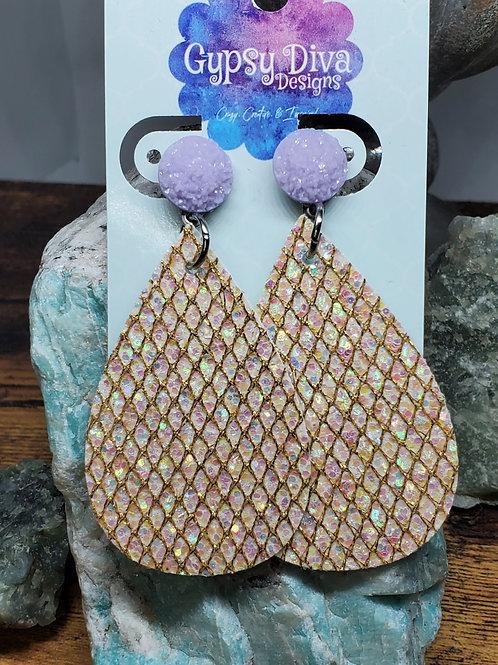 Medium Teardrop Iridescent Glitter on Lavender Druzy Posts