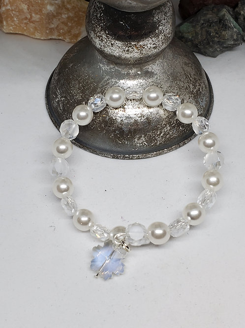 Crystal & pearl w/ Snowflake Charm Bracelet