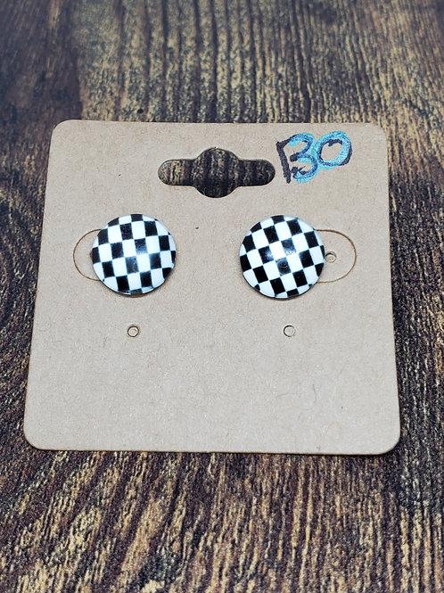 Black & White Check Post Earrings