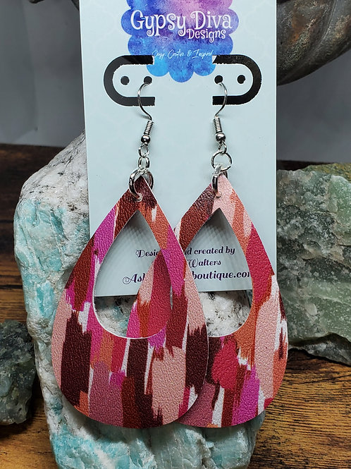 Large Teardrop Cutout Shades of Red, Pink, & Burgundy Brushstrokes Faux Leather