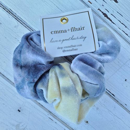 Blue & Cream Tie Dye Velvet Scrunchie