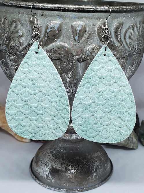 Large Teardrop Mint Green Mermaid Scales Textured Faux Leather