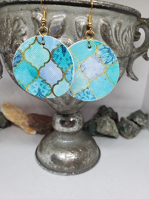 Medium Circles Teal & Purple Moroccan Faux Leather with Gold Hardware
