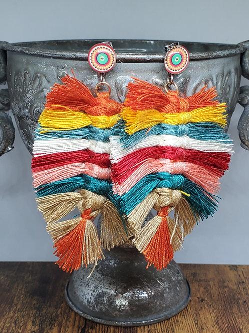 Multicolored Macrame Feathers on Multicolored Mandala Posts