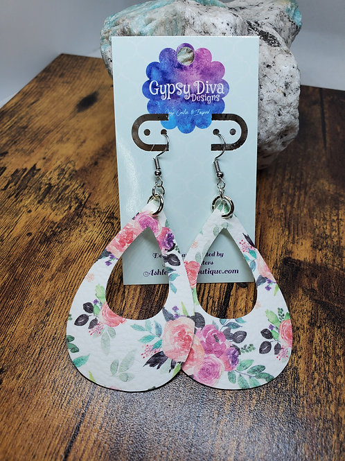 Large Cutout Teardrop Floral Print on Silver Hardware