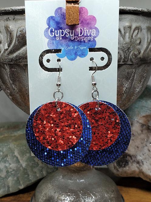Americana Double Layer Glitter Earrings