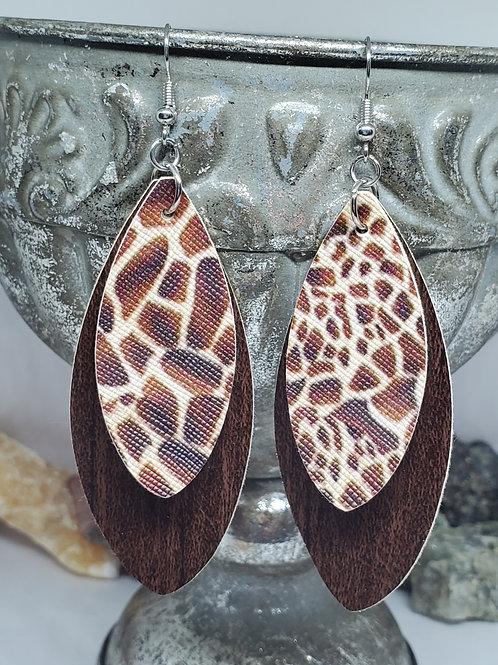 Large Leaf Cut Double Layer Dark Brown Wood Grain & Giraffe Print Faux Leather