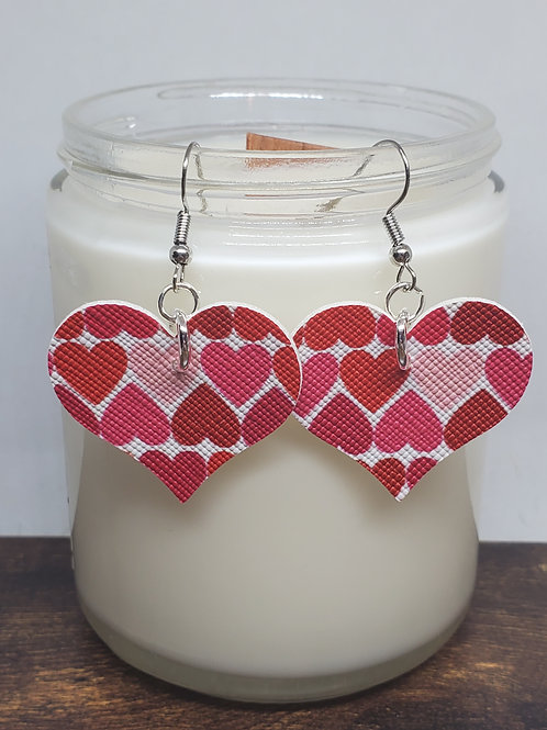 Medium Hearts Shades of Red Hearts Faux Leather