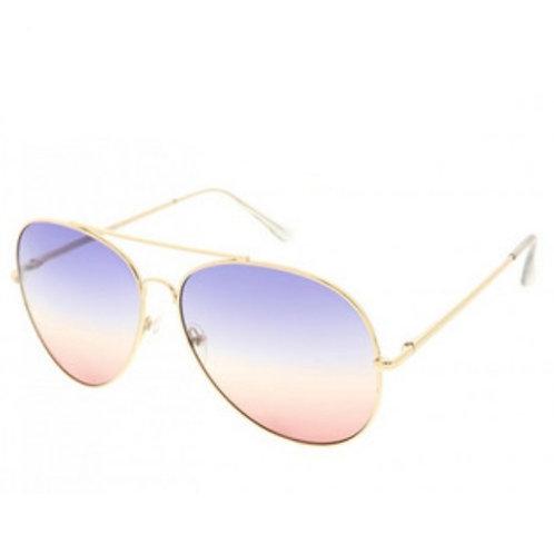 Aviator Sunnies - Blue/Rose Gold Ombre Lens