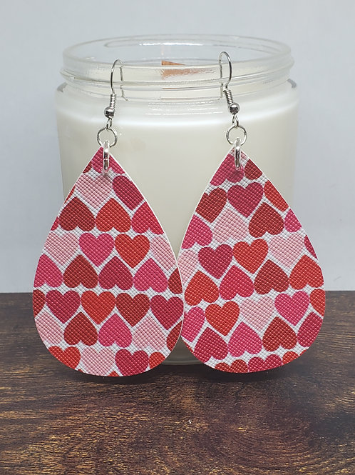 Large Teardrops Shades of Red Hearts Faux Leather