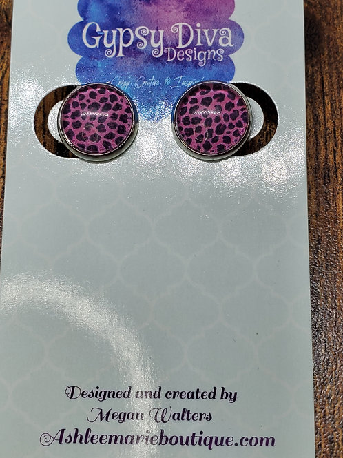 Pink & Black Leopard w/Silver Bezel Setting  Post Earrings