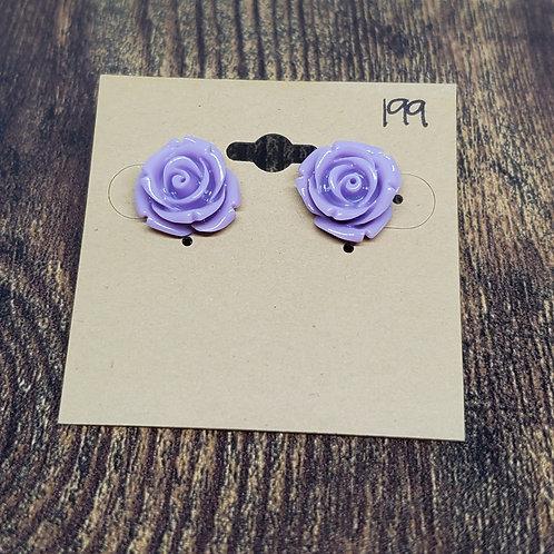 Light Purple Roses Post Earrings