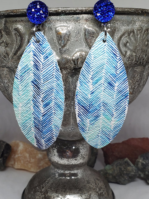 Large Leaf Shades of Blue Feathered Genuine Leather w/Blue Druzy Post