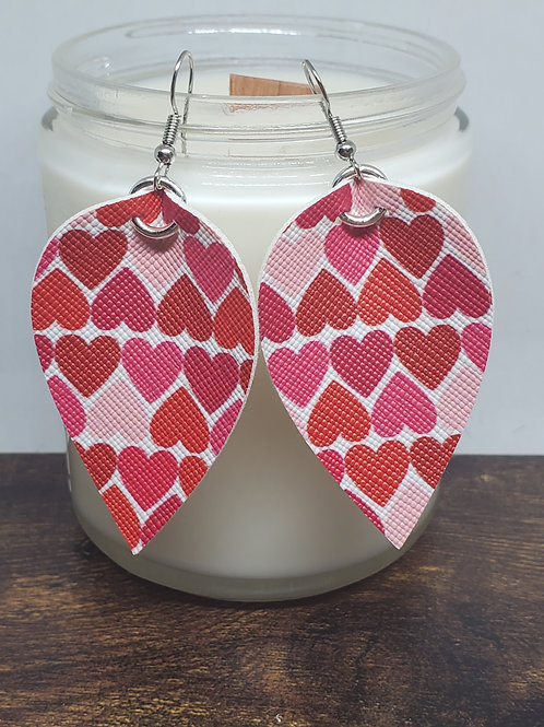Medium Pinched Leaf Shades of Red Hearts Faux Leather