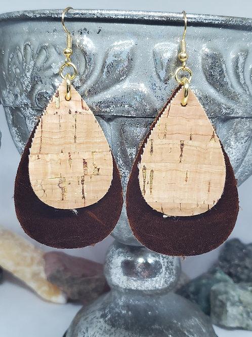 Medium Teardrop Dark Brown Genuine Leather & Cork