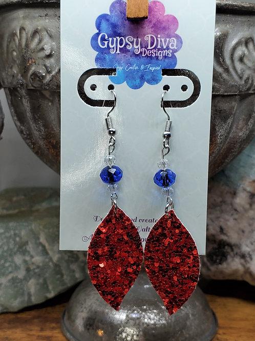 Americana Bead & Glitter Dangle Earrings