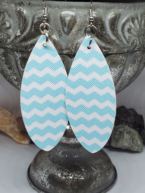 Large Leaf Cut Light Blue and White Chevron Print Faux Leather