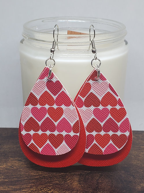 Double Layer Teardrop Red & Hearts Faux Leather
