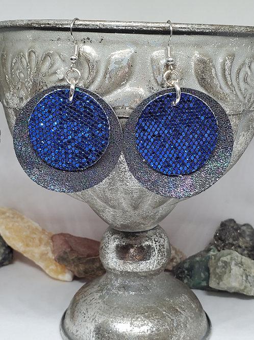 Medium Double Layer Black Circles w/Iridescent Shimmer & Blue Glitter