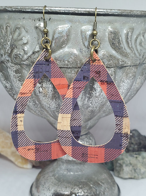 Large Teardrop Cutout Red, Navy, and Tan Plaid Cork