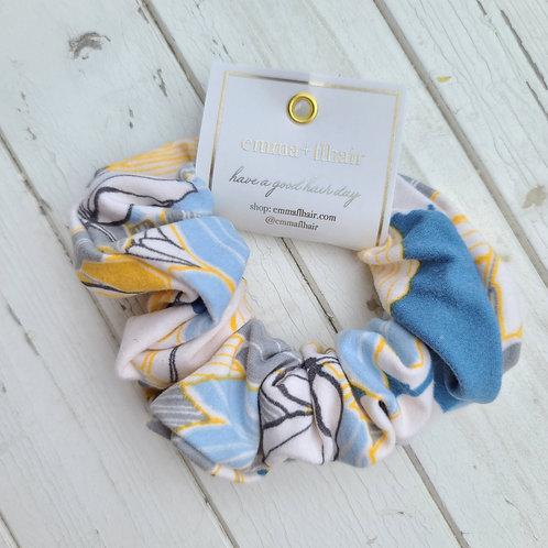 Blue & Yellow Floral Scrunchie
