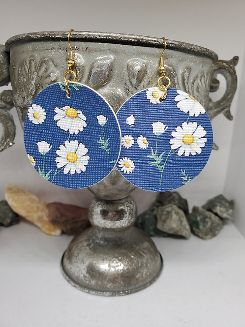 Large Circles Navy Background Daisies Faux Leather