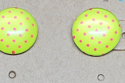 Neon Yellow Green with Fuschia Polka Dots Posts