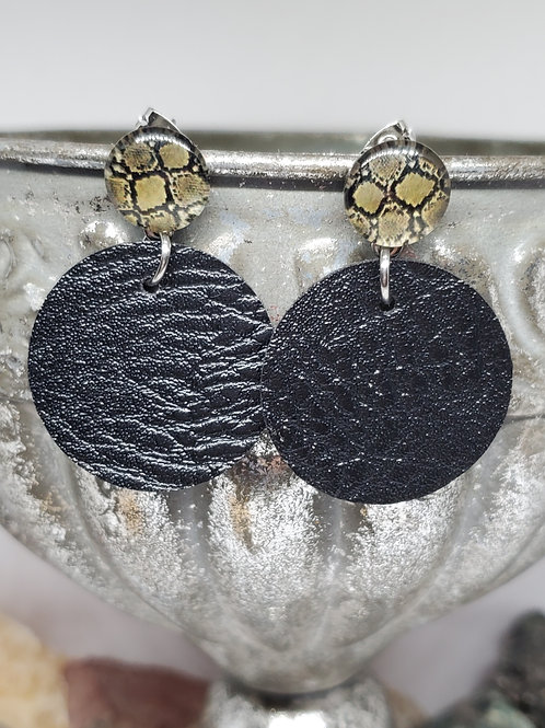 Snakeskin Print Cabochon & Small Circles Black Faux Leather