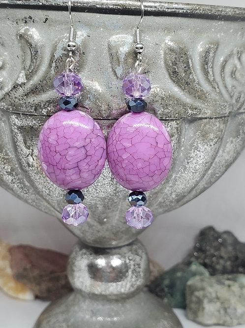 Purple Crackle & Faceted Purple & Black Beads