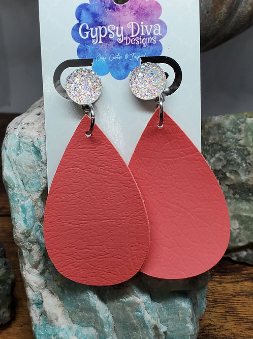 Medium Teardrop Coral Faux Leather on Iridescent White Druzy Posts