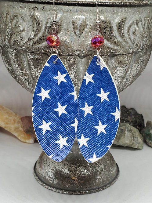 Large Leaf Cut Blue Background with White Stars Print with Red Bead Faux Leather