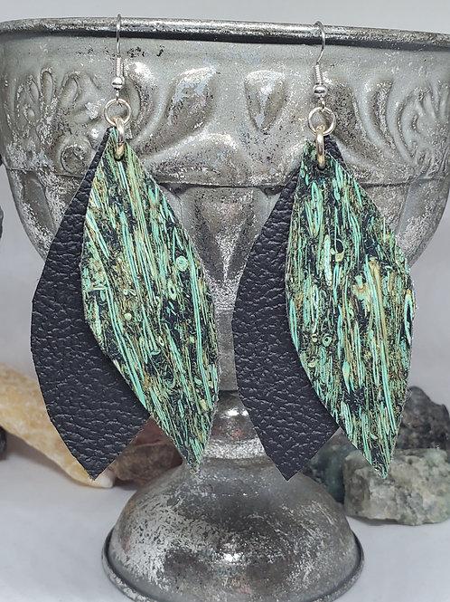 Free Cut Leaf Black Genuine Leather & Blue Floral Faux Leather
