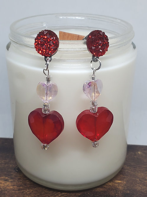 Red Druzy Posts w/Pink & Red Crystal Beads