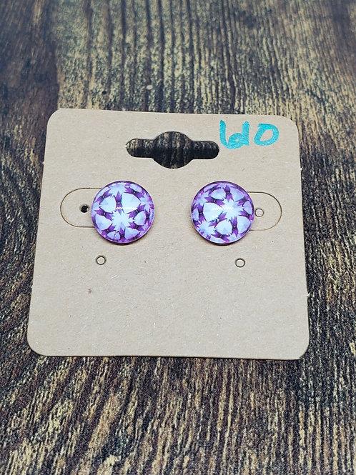 Purple & White Star Design Post Earrings