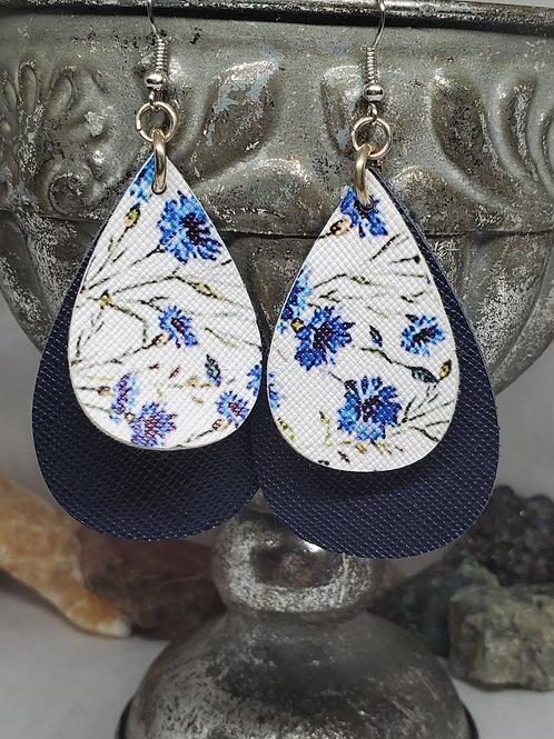 Medium Teardrop Navy Leather & Blue Floral Faux Leather