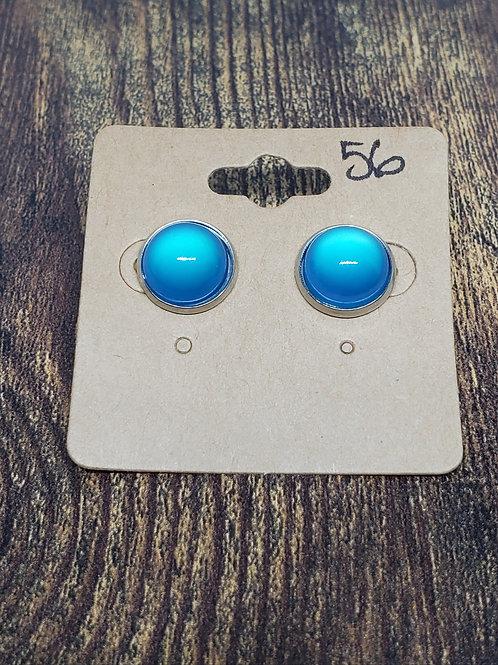 Blue Bubbles in Bezel Setting Post Earrings