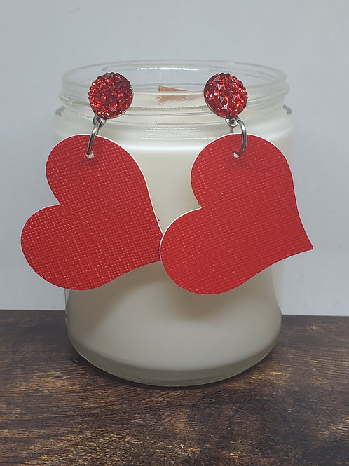 Ruby Red Druzy Post with Large Angled Red Heart Faux Leather