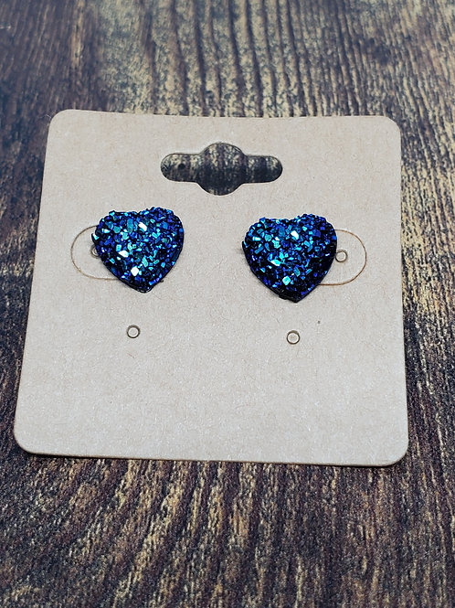 Iridescent Black & Blue Druzy Hearts Post