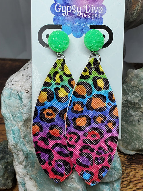 Large Leaf Multicolored Leopard Print Faux Leather on Neon Green Druzy Post