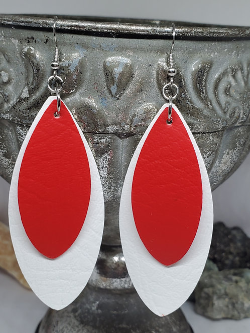 Large Leaf Cut Double Layer White & Red Faux Leather