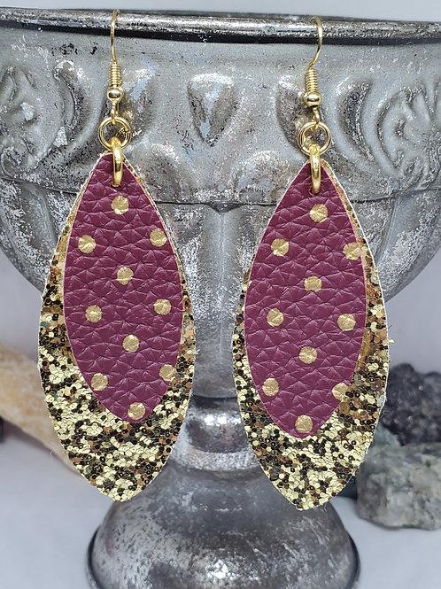 Large Leaf Gold Glitter & Burgundy w/Gold Polka-dots Faux Leather