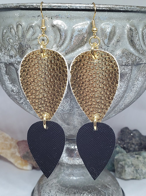 Stacked Drops Black & Gold Faux Leather
