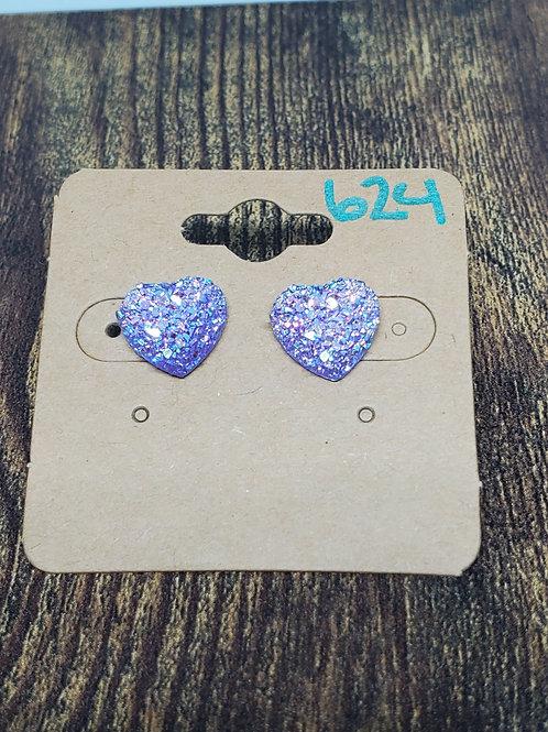 Iridescent Lavender Druzy Hearts Posts