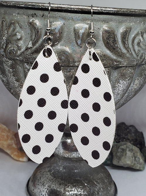 Large Leaf Cut White with Black Polka-dots Faux Leather