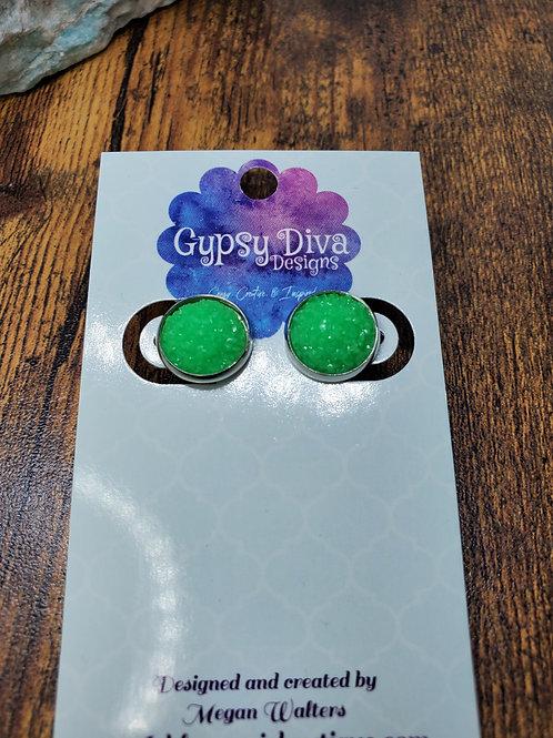 Neon Green Druzy w/Silver Bezel Setting  Post Earrings