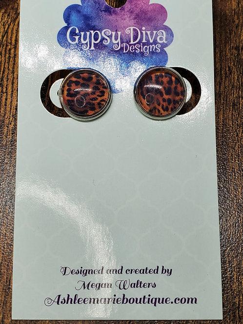 Orange, Brown & Black Leopard w/Silver Bezel SettingPost Earrings