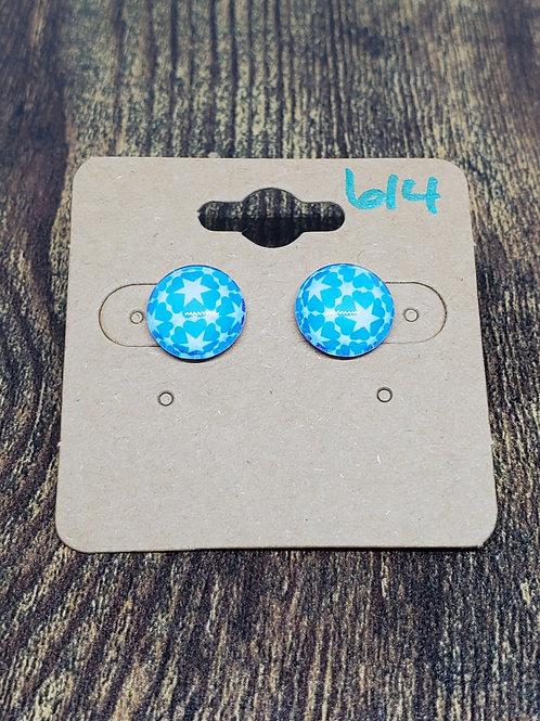 Light Blue & White Star Design Post Earrings